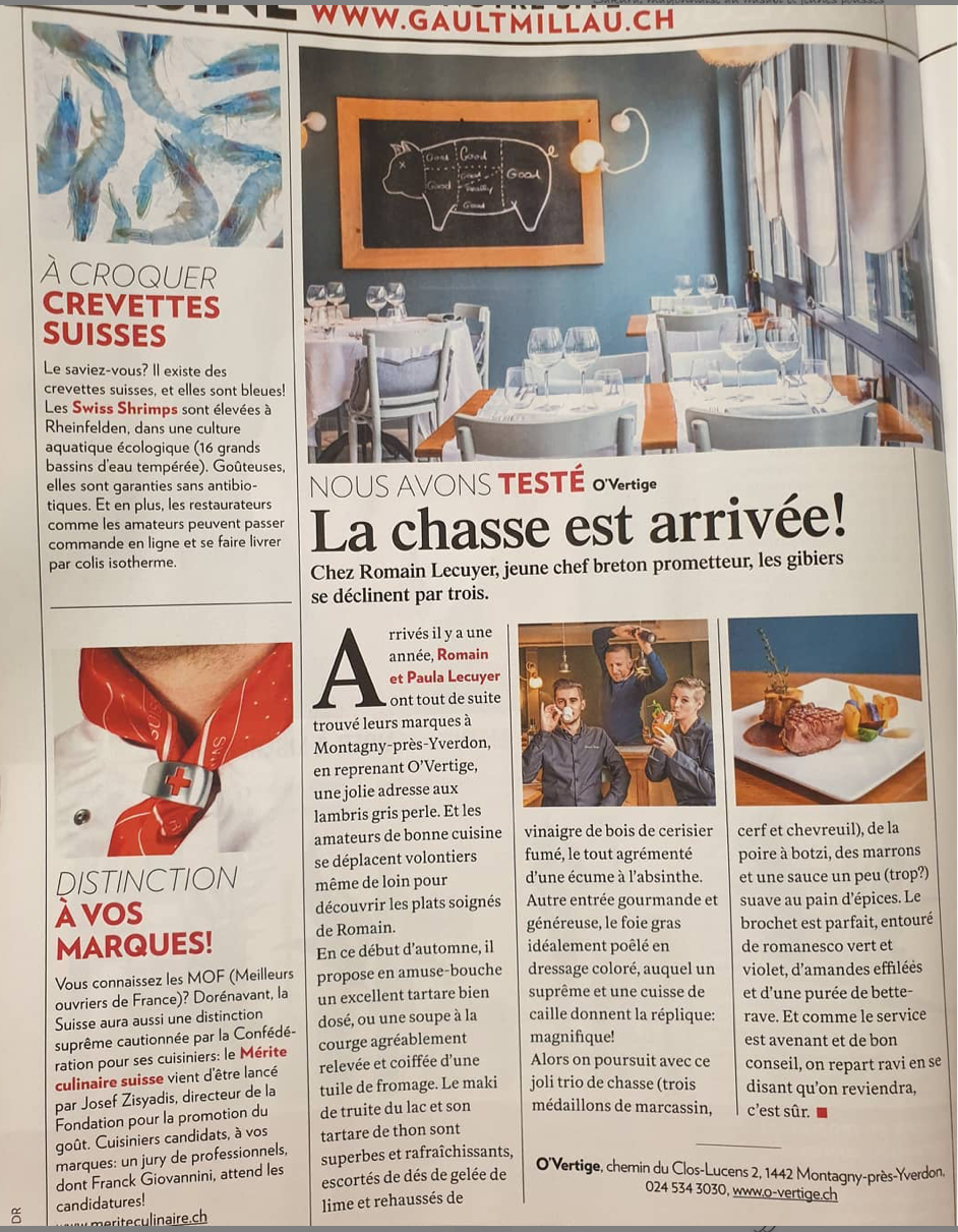 Article Gault & Millau Channel 2019